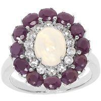 Un bijou envoà»tant et généreux ! Argent 925 rhodié 1 opale de 1ct 12 rubis totalisant 2.3cts Satisfait ou remboursé 15 jours.