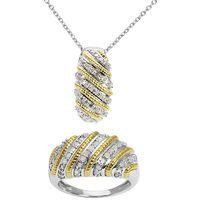 1001 PIERRES Bague Couronne Diamant 1/2ct+Pendentif+Chaîne